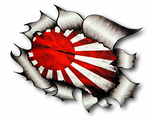 Ripped Torn Metal Design With JDM Drift Style Rising Sun Flag Motif External Vinyl Car Sticker 105x130mm